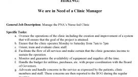 HIRING! We are in Need of a Clinic Manager