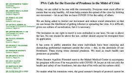 PNA Calls for the Exercise of Prudence in the Midst of Crisis